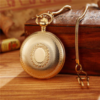 Luxury Skeleton Mechanical Pocket Watch Mens Fob Chain Golden Automatic Self winding Women Men Watch Gift Clock