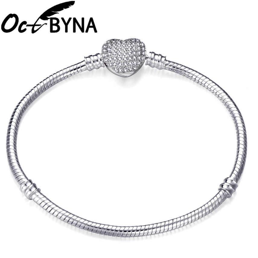 Octbyna แฟชั่น Silver Plated รูปหัวใจงู CHAIN Charm สร้อยข้อมือสำหรับผู้หญิงสร้อยข้อมือและกำไลเครื่องประดับ DIY ทำของขวัญ