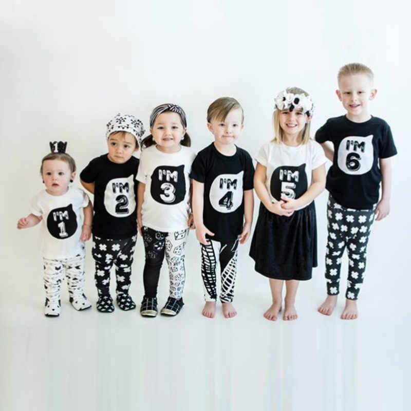 เด็กวัยหัดเดินเด็กฤดูร้อนผ้าฝ้ายแขนสั้นเสื้อยืดเด็กสีขาวสีดำสำหรับ Baby Boy TShirt ผู้หญิง Top Tees 1 2 3 4 5 6 ปีวันเกิด