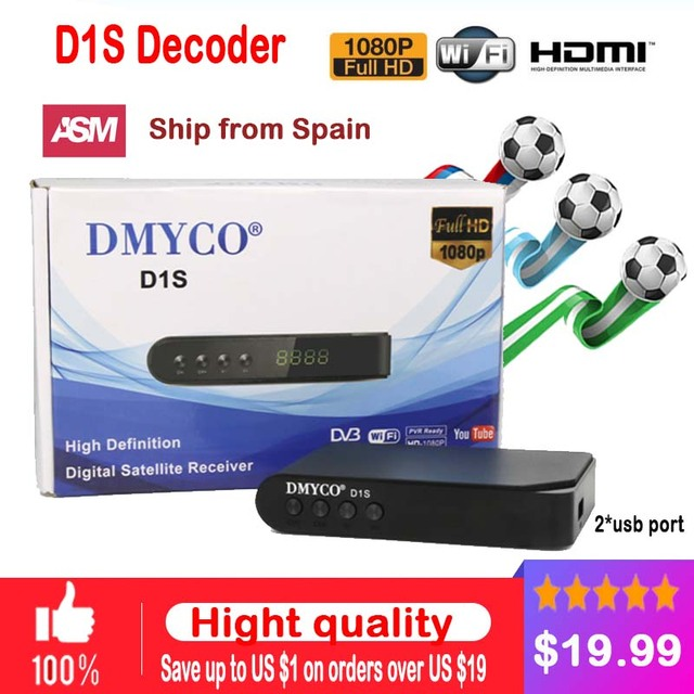 DMYCO D1S digital Satellite TV Receiver Full HD 1080P HD Receptor D1S decoder HD DVB-S2 lnb support powervu Youtube Youporn