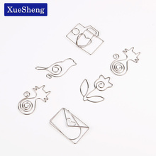 5PCS/lot Metal Cat Rose Shape Paper Clips Silver Color Funny Kawaii Bookmark Office School Stationery Marking Clips