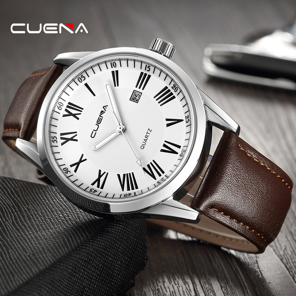 Mens Watches Top Brand Luxury Quartz Wrist Watch Business Watches Fashion Men's Leather Military Date Analog Erkek Kol Saati