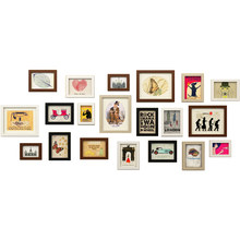 Simple Modern Style Wooden Wall Photo Frame 20 pcs Cheap Photo Frame Set Wedding Decor Wall Picture Frames marcos de fotos pared(China)
