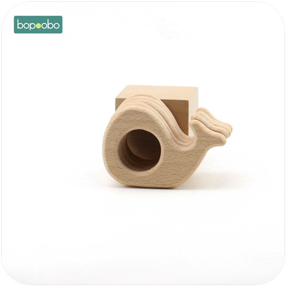 Bopoobo Baby Teether Accessories Beech Wood Whale 1pc Food Grade Teether DIY Wooden Jewelry Teething Bracelet Baby Teether