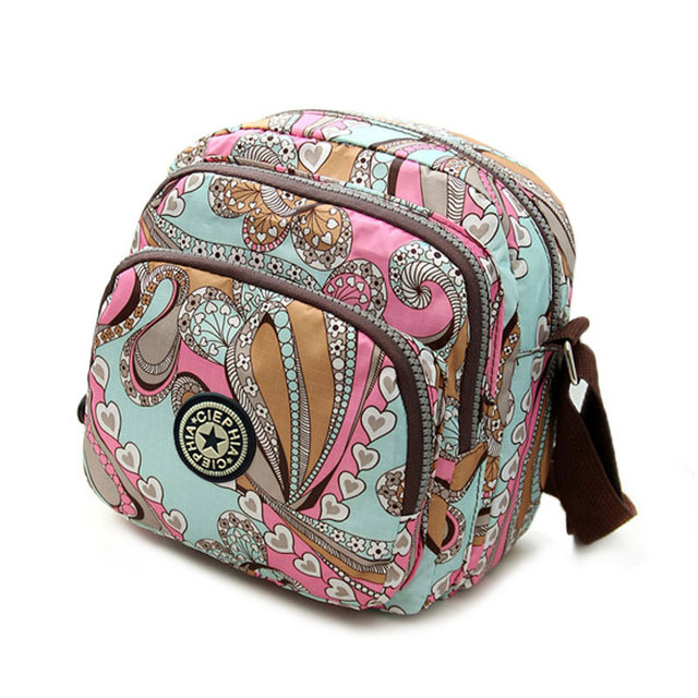 Ciephia Famous Brand Design Women Messenger Bags Nylon Casual Shoulder bag Floral Handbags Three Zipper Crossbody Bag for Woman
