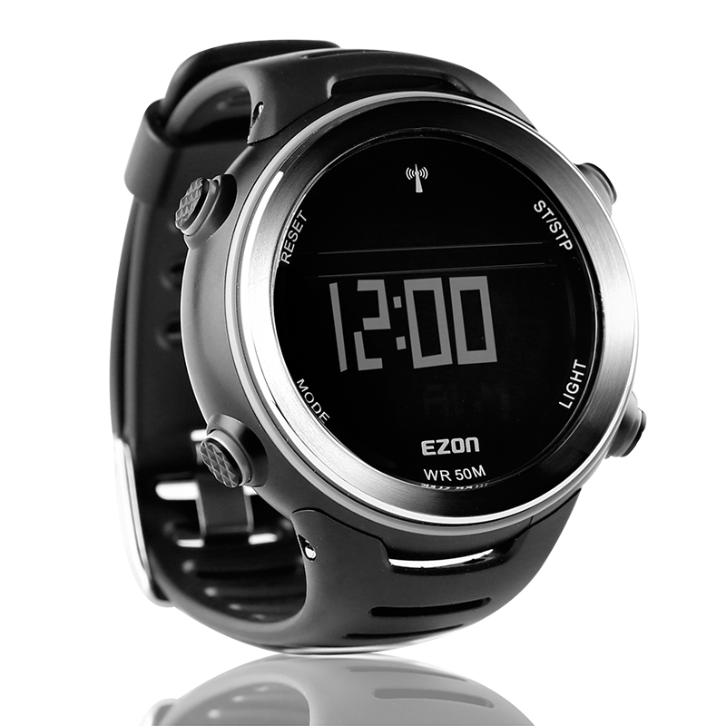 EZON Radio Wave Calibrate Time Digital Men Sports Watch Outdoor Casual Running Swimming Waterproof 50m Wristwatch