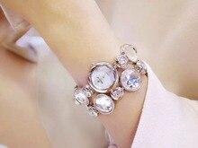 Nouvelle Arrivée Célèbre BS Marque Bling Diamant Bracelet Montre Femmes De Luxe En Cristal Autrichien Bracelet Montre Strass Charme Bracelet