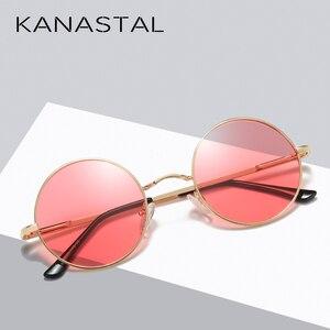 Image 3 - KANASTAL מתכת Steampunk משקפי שמש מקוטב סגלגל מראה Steampunk עגול משקפי שמש נשים גברים מקוטב נהיגה משקפיים UV400