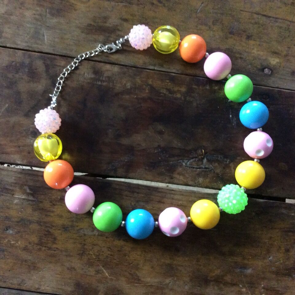 Children Elegant Princess Chunky Bubblegum Beads Necklace Wholesale Esa Doll Customer DIY Alloy Pendant Necklace