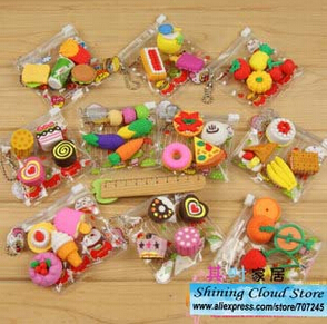 Free Ship!20 Bag!Cartoon PVC Bag Simulation Eraser/food /tool/animal Erasers/10model For Choice