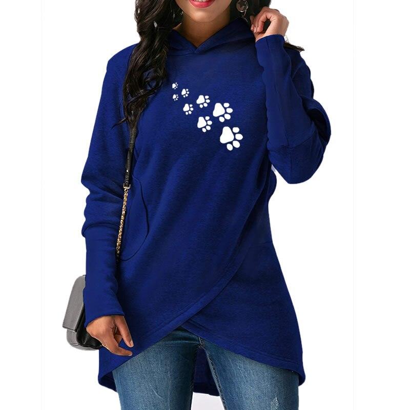 2019 neue Mode Dropshipping Hund Paws Drucken Hoodies Frauen Sweatshirts Weibliche Harajuku Casual Lose Cropped Herbst und Frühling