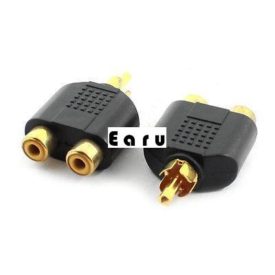 2pcs RCA Male to 2 RCA Female Jack AV Audio Adapter Splitter Connector Gold Tone 2pc high quality rca audio connectors rca male to 3 pin jack plug conector xlr rca audio adapter free shipping with tracking