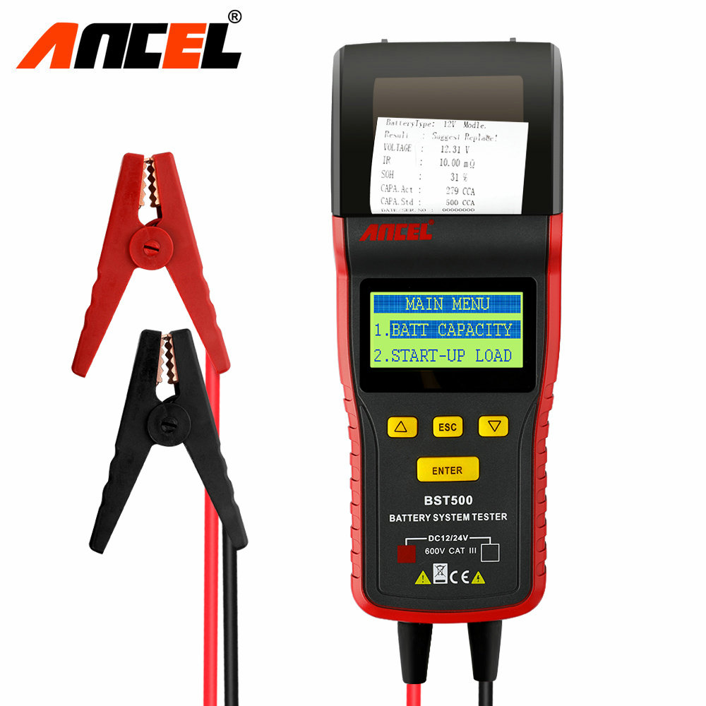 Ancel BST500 12V 24V Car Truck Battery Tester Analyzer Automotive Car Truck Detect Bad Battery 100 to 2000 CCA with Printer  em281 mini 12v 24v automotive battery tester lcd bar indication battery load tester electrical all sun em281 battery analyzer