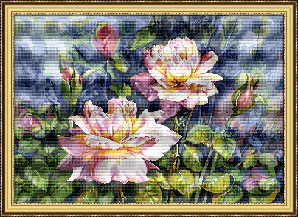 Vintage Rose Cross Stitch Kit Aida 14ct 11ct Count Print Canvas Stitches Embroidery DIY Handmade