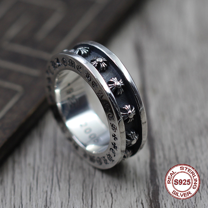 S925 чистого серебра мужские кольца индивидуальность восстановление древних способов в стиле панк Groove крест утолщение популярные классичес...