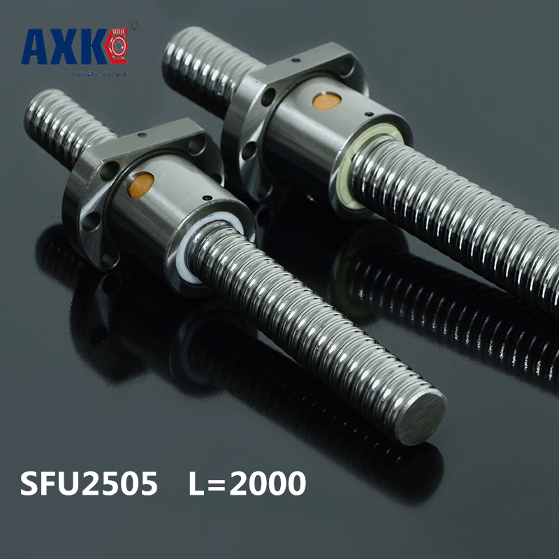 2pcs Anti Backlash Ballscrews 2505 -L 2000mm + 2pcs SFU2505 single ballnut for CNC Machining Linear X Y Z Working Table
