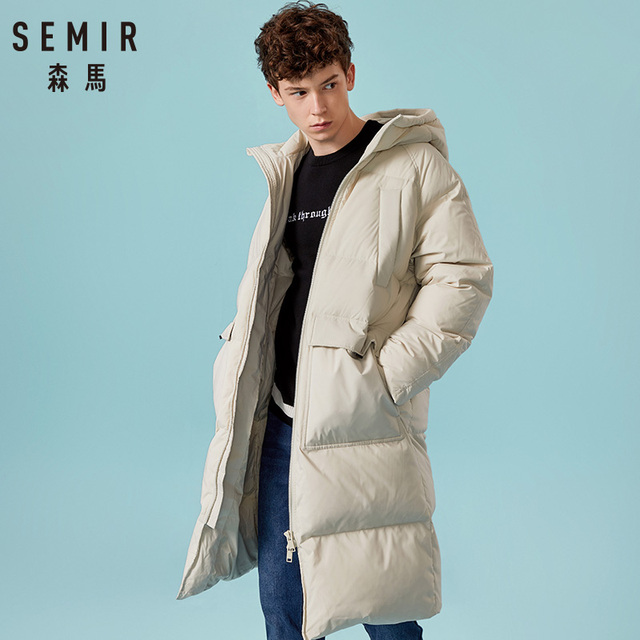 SEMIR 2018 New Clothing Winter Jackets Business Long Thick Winter Coat Men Solid Parka Fashion Overcoat Outerwear Warm 3