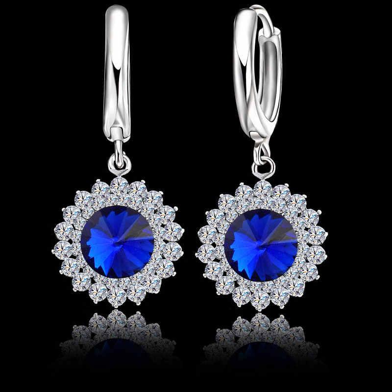 Exquisite 925 Sterling Silber Kristall Halsketten Ohrringe Set Frauen Feine Braut Hochzeit Schmuck Sets Zubehör 3 Farben