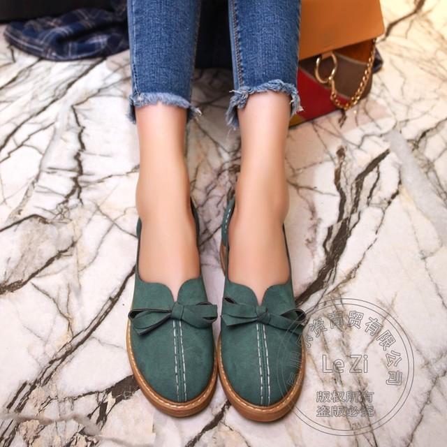 Agradable Microfibra Mujeres Zapatos Planos del Color Sólido Mujeres Llanura Baja de frente de Cuero Suave China Adolescente Niñas Se Deslizan En Las Mujeres bronceado