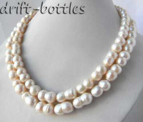 100% Selling Picture full 2Strands 10mm 18'' White Double Baroque Freshwater Pearl Necklace