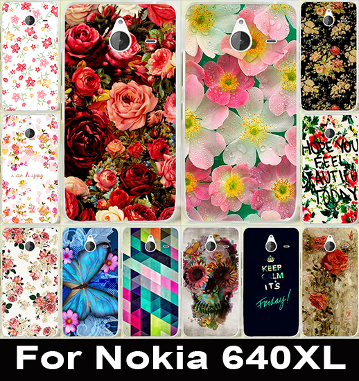 Brilliant Rose Peony Flower Painted Fashion Cute Soft TPU & Hard PC Cover Case For Microsoft Nokia Lumia 640XL 640 XL Case Capa
