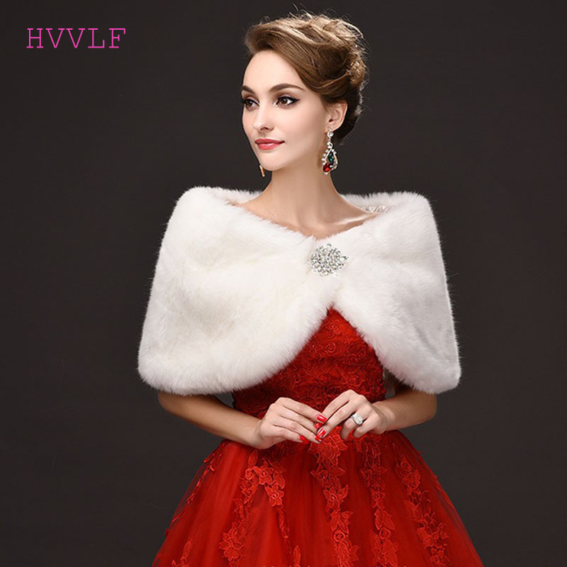2019 Elegant Warm Faux Fur White Bolero Wedding Wrap Shawl Bridal Jacket Coat Accessories
