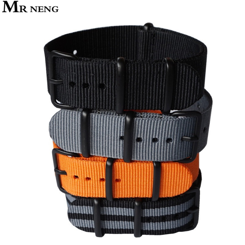 Nato Solid Black Buckle Stripe Orange ZULU 20mm 22mm 24mm Watchbands Men Women Watches Strap Wristwatch Band PVD Buckle Belts