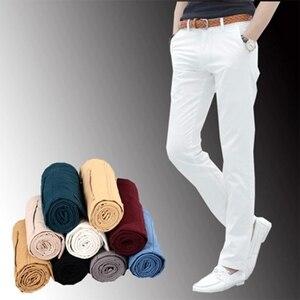 Image 1 - Männlichen Sommer Mode Kleid Hosen männer Koreanischen Stil Dünne Beiläufige Lange Länge Pantalon Homme Männer Slim Fit Anzug Hosen Weiß hosen