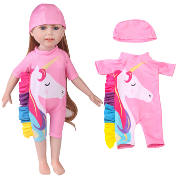 18 inch Girls doll clothes Pink unicorn swimsuit + swim cap American new born dress Baby toys fit 43 cm baby c745 baby born doll clothes toys white polka dots dress fit 18 inches baby born 43 cm doll accessories gc18 36
