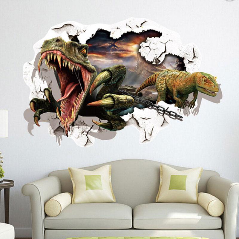 Aliexpresscom Buy 8757cm Waterproof 3D Dinosaurs Wall Stickers