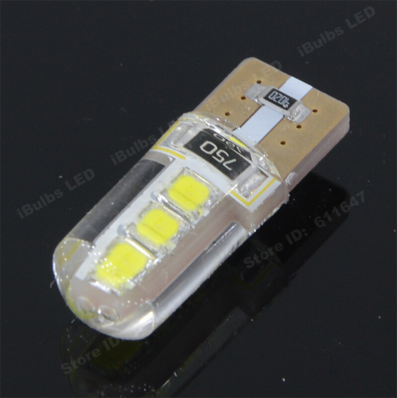 4Pcs Silica Gel T10 W5W 6 LEDs Canbus Error Free 194 501 2835 SMD Auto Bulbs Car Interior lights Clearance Wedge Lamp DC 12V 2pcs t10 canbus error free car license plate lights 9 smd led light bulbs 194 w5w auto wedge panel interior light