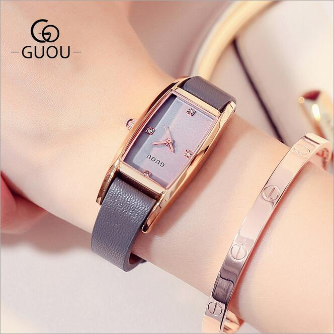 GUOU Watches Luxury Crystal Watch Women Fashion Genuine Leat