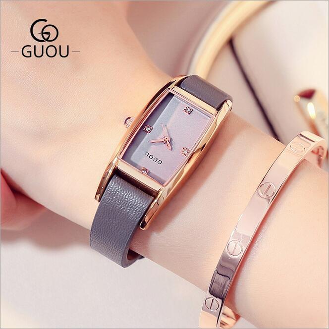Relojes GUOU reloj de cristal de lujo para mujer de moda de cuero genuino reloj de señora Simple rectángulo reloj de Hora reloj femenino