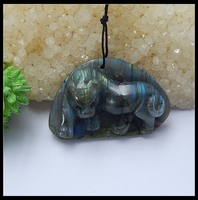 New Design Natural Stone Carved Animal Tiger Labradorite Necklace Pendant 29x45x15mm 20.6g semiprecious stone Fashion Jewelry