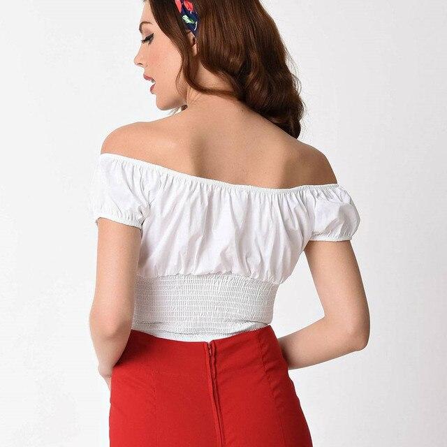 8d051d7f0ea 35- summer women vintage 50s retro withe off shoulder elasticized back peasant  top pinup plus size camisetas boothals shirt