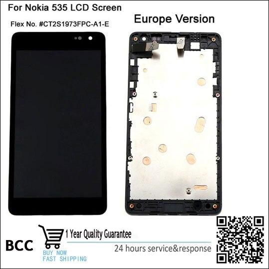 Teste 100% original para tela lcd nokia lumia 535 microsoft ct2s1973fpc-a1-e n535 toque digitador da tela + quadro + trilha não.