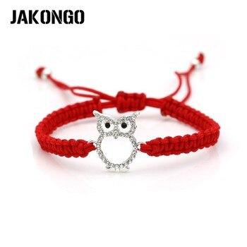 Jakongo cristal coruja charme pulseira trançada corda vermelha para mulher ajustável artesanal pulseira