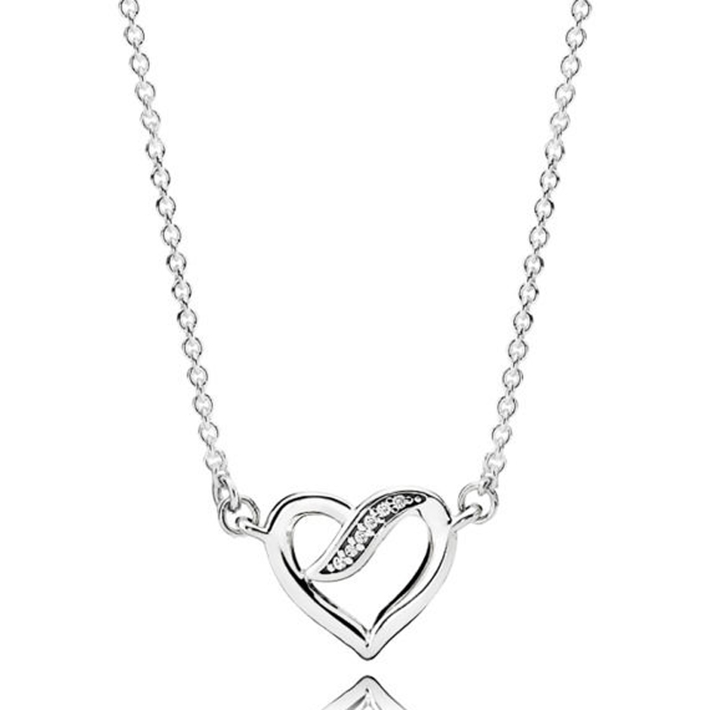 883121e02619d Rainbow Heart I LOVE YOU Logo Signature Two Interlocking Circles Necklace  For Women Pandora Jewelry 925 Sterling Silver Necklace