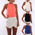 2017 Summer Sexy Off Shoulder Womens Tank Top Back Zipper Solid Chiffon Vest Lady Casual Sleeveless T shirt Camisoles Plus Size