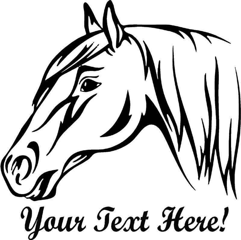 Family Stickers Horse Head Custom Name Text Vinyl Wall Art