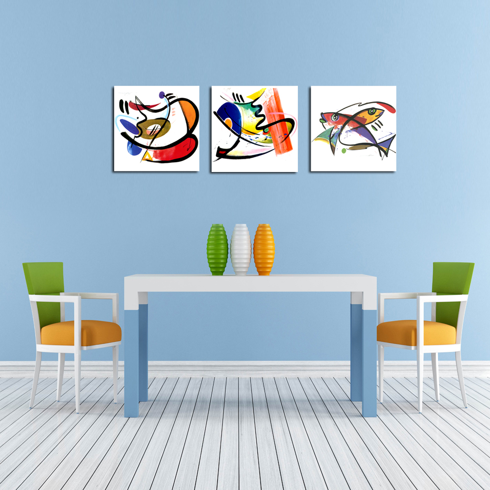 Abstract Painting Print on Canvas Fish Picture Printing Kitchen - Decoratiune interioara - Fotografie 3