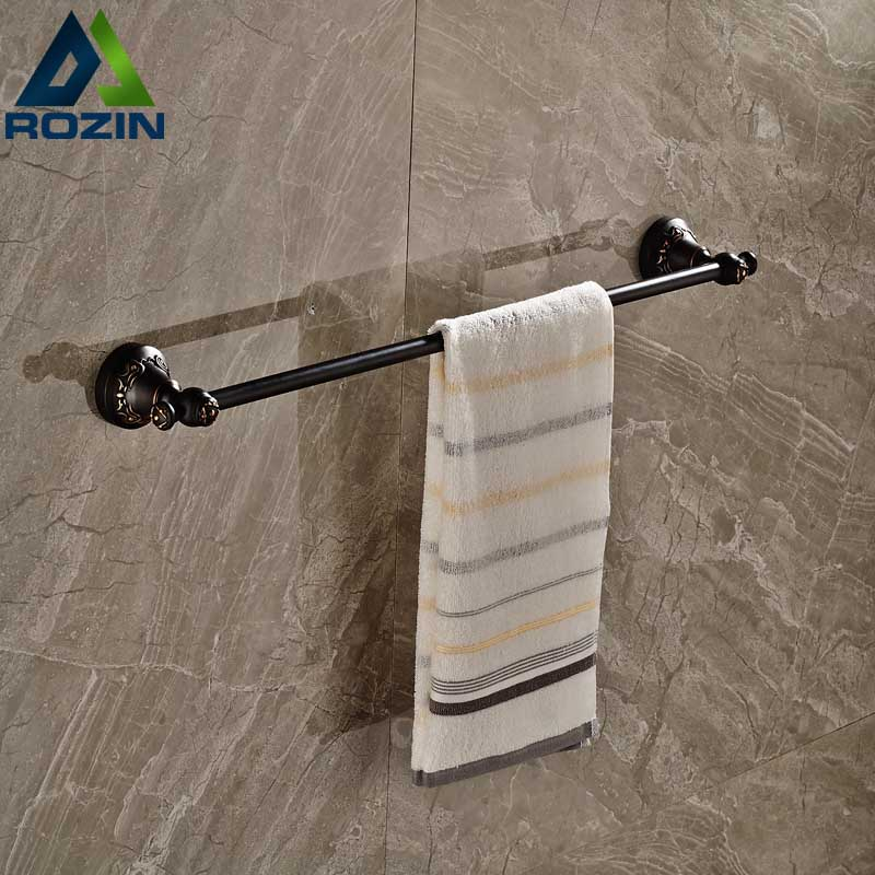Luxury Artistic Towel Bar Single Towel Holder Wall Mounted Bathroom Towel Rail Rod Oil Rubbed Bronze Finish allen roth brinkley handsome oil rubbed bronze metal toothbrush holder