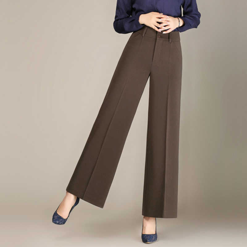 New Women's Casual Wide Leg Pants Female High Waist Cropped Pants For Summer Solid Color Straight Office Lady Suit Pants 6XL