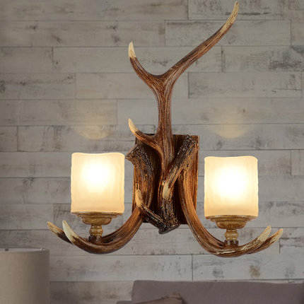 American vintage bedroom double glass wall sconce lamp ...