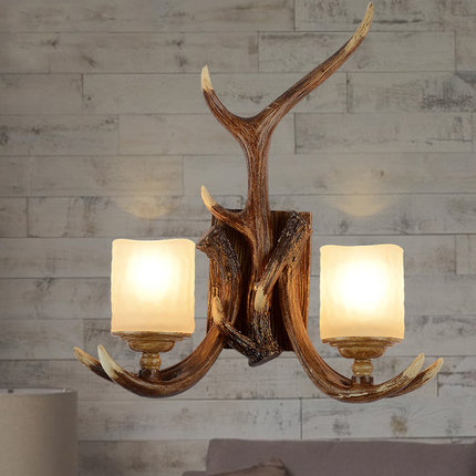 American vintage bedroom double glass wall sconce lamp norbic retro DIY home deco double antlers E14 LED bulb wall light fixture
