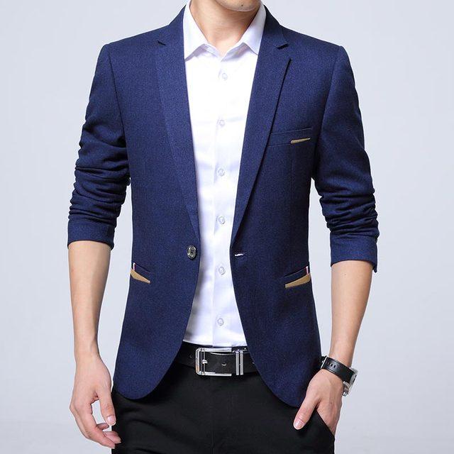 2016 Moda de Nueva Hombres Blazer Casual Slim Fit Masclulino Con Muesca de Cuello de Color Sólido Casual de Negocios Traje Chaqueta de Los Hombres