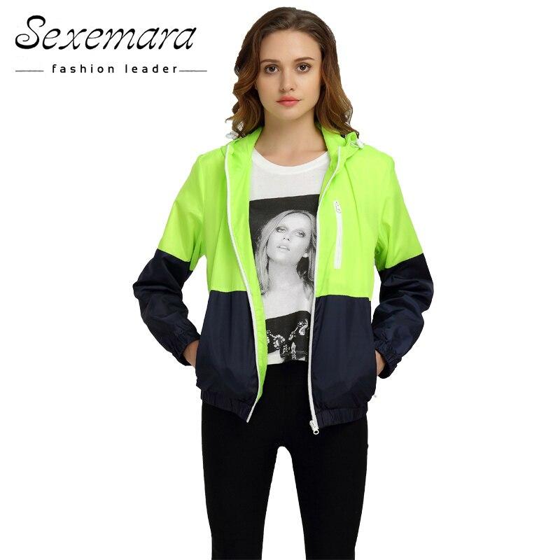 Sexy Suit Zipper Jacket Women Nylon 2017 Autumn Fashion Jacket Hooded Basic Plus Size Casual Thin Windbreaker Female Outwear
