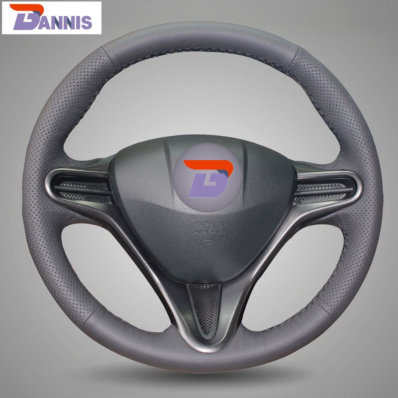 BANNIS Black Artificial Leather DIY Hand stitched Steering Wheel Cover for Honda Civic Old Civic 2004