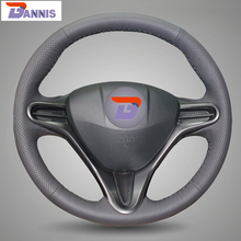 BANNIS Black Artificial Leather DIY Hand-stitched Steering Wheel Cover for Honda Civic Old Civic 2004-2011