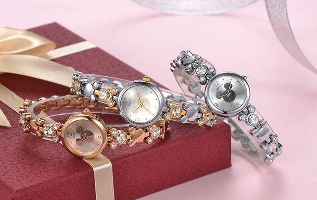 Donne orologi in acciaio inox Mickey Mouse donna orologi Bracciale in oro rosa Disney di marca diamante di lusso 30 m impermeabile orologio da polso